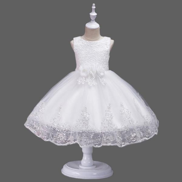 Encantador de encaje de flores niña vestidos con lentejuelas joya sin mangas piso longitud verano niña boda invitado vestido niña Bithday Party vestidos