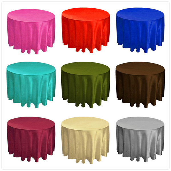 215*215cm Hotel Tablecloth Solid Round Satin Table Cloth For Christmas Wedding Party Hotel Restaurant Banquet Decor from Nantong Jiangsu
