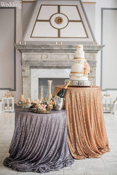 Wedding Table Cloths Custom Size for Your Table Shiny Sequin Tablecloths Gold and pink cake table ideas Wedding party homegarden decorations