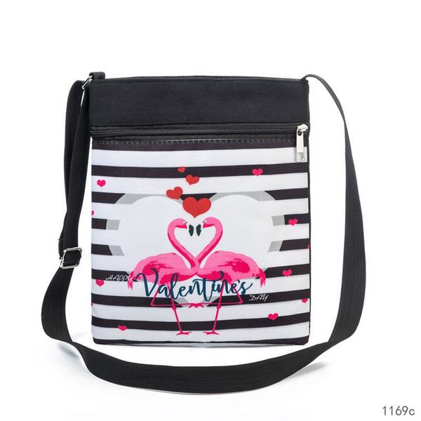 buona qualità Bella a strisce e fenicottero stampato borsa a tracolla Messenger Borsa a tracolla di tela femminile di alta qualità Lady Double Zipper Bag