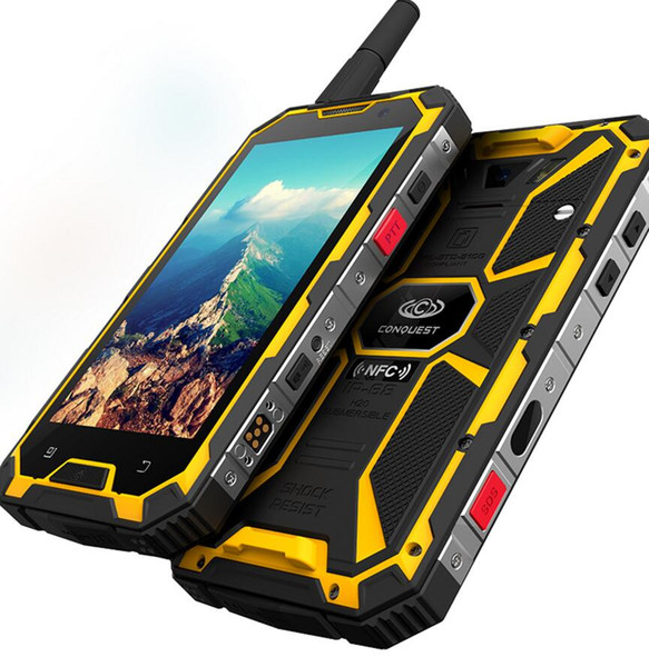 "Conquest S8 4G Walkie Talkie Mobile Phone Android 7.0 3GB+32GB Octa Core IP68 Waterproof Smartphone 720P 5.0"" NFC Cell Phone"