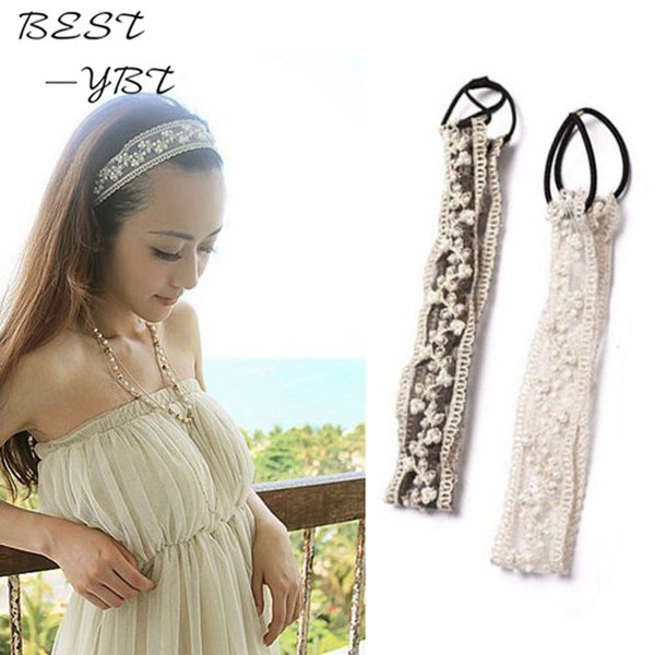 Hot New Sweet Korean Pearl Beads Lace Hair Head Bands Wide Elastic Headband Hair Band Bridal Accessories Girls bandeau