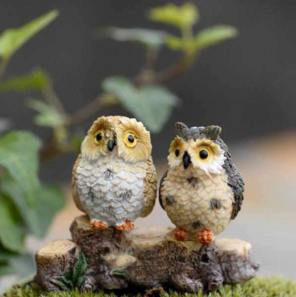 Mignon Hiboux Animaux Figurines Résine Miniatures Figurine Artisanat Bonsaï Pots Maison Fée Jardin Ornement Décoration Terrarium Décor