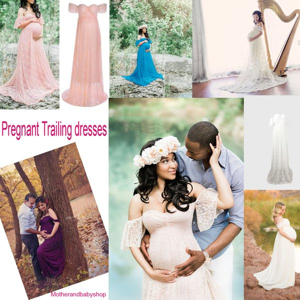 Maternity Dress Photography Props Maxi Dress Maternity Gown Pregnancy Off Shoulder Dress Pregnant Clothing For Photo Shoot Trailing dresses