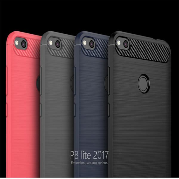 Custodia in silicone 100PCS / Lot di lusso SOFT CARBON per Huawei P8 P9 P10 Casi lite per Huawei Honor 6X 5C 8 P8 lite