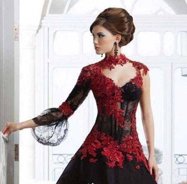 Vintage preto e vermelho vitoriano gótico masquerade noite e vestido de baile vestidos 2019 buraco da fechadura de alta pescoço manga comprida vestido de baile Plus Size