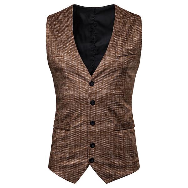 Compre Chaleco De Tweed Marrón Vintage Chalecos De Novio Espiga Chalecos De Traje De Hombre De Estilo Británico Chaleco De Vestir Para Hombre De Corte