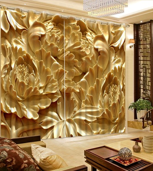 Jade carving fairy flower Blackout Printing fabric Floral 3D Print Window Curtain Drapes For Living room Bedroom Wall Tapestry