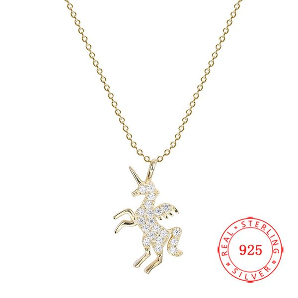 2019 nuovo solido argento 925 collana di fascino placcato oro unicorno collana Cina di alta qualità prezzi bassi all'ingrosso