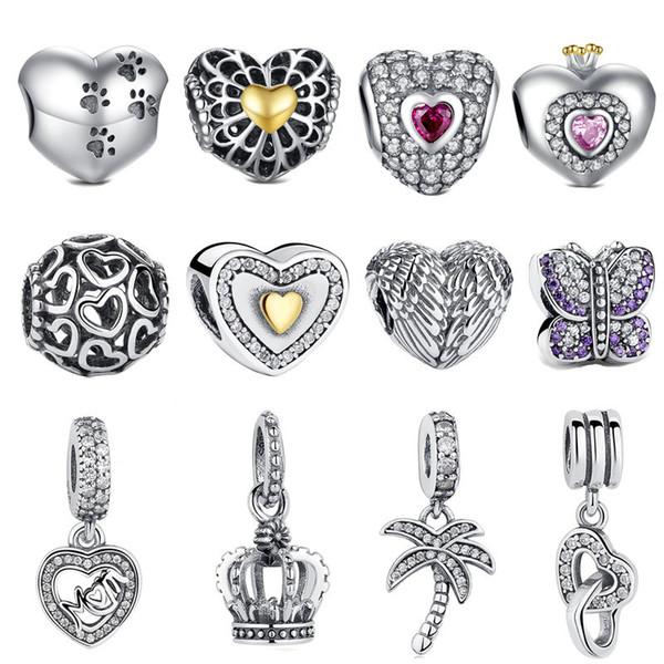 Fit Pandora Pulseira Vintage Asa Beads 925 Sterling Silver Crown Oco Dourado Coração CZ Árvore Charme Adolescente Menina DIY Fazer Jóias