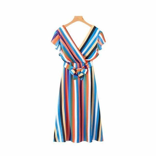 2019 women colorful striped midi dress V neck short sleeve bow tie sashes elastic waist casual mid calf dresses vestidos QB191