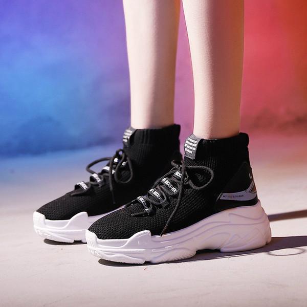 Wholesale Shark Sneakers Women Men Knit Upper Male Chunky Shoes High Top Running Men Women Sneakers For M