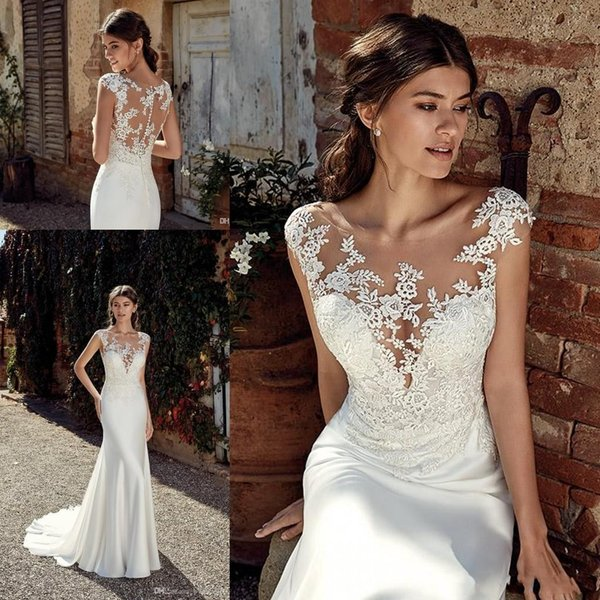 2020 Country Sexy Mermaid Wedding Dresses Sheer Back Lace Appliques Illusion Cap Sleeves Button Back Wedding Dress Plus Size Bridal Gowns Lace Wedding