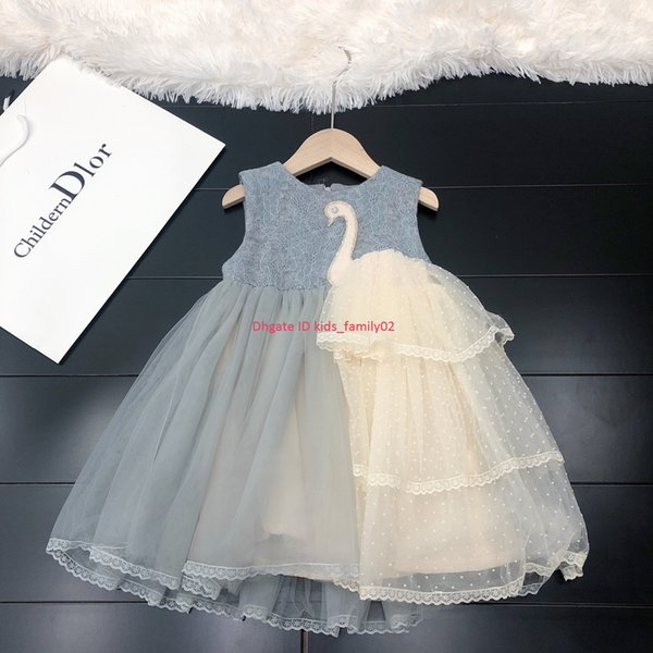 Girls dress kids designer clothing autumn new woolen stitching mesh princess dress skirt swan patchwork lining cotton dresses