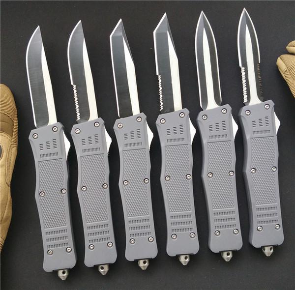 Броненосец Серый Большой 161 Боевой D / A Авто A161 Нож Открытый Механизм Лезвия Двухцветный Тактический Карманный EDC Охота Рождественские Подарочные Ножи P408R