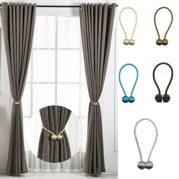2 piezas de amarres de cortina magnética, clips de cuerda con hebilla de cortina magnética y corbata trasera para ventanas y paneles opacos para niños de oficina en el hogar