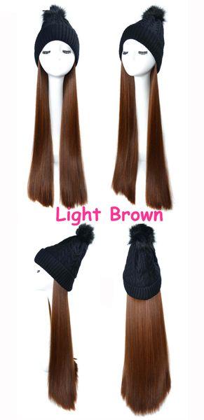 Black wig Light brown straight Hair
