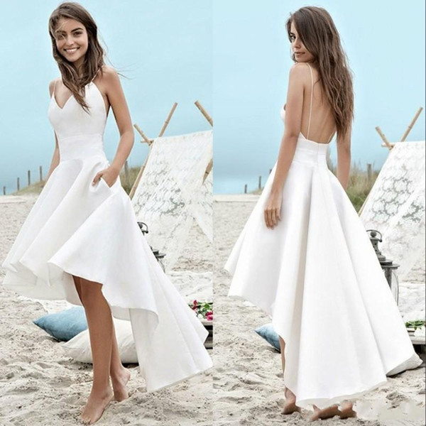 2019 Simple Summer Beach Wedding Dresses A Line Boho Bridal Gowns High Low Backless Spaghetti Straps Holiday Gowns