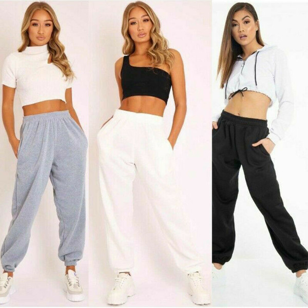 best selling Ladies trousers casual sports pants plain track jogging pants haul two pockets beam hip hop loose cotton sweatpants Stock in USA