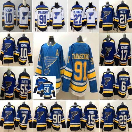 Günstige St. Louis Blues 90 Ryan O'Reilly 91 Vladimir Tarasenko 27 Alex Pietrangelo Brayden Schenn Schwartz Kastanienbraun Fabbri 50 Binnington Jersey