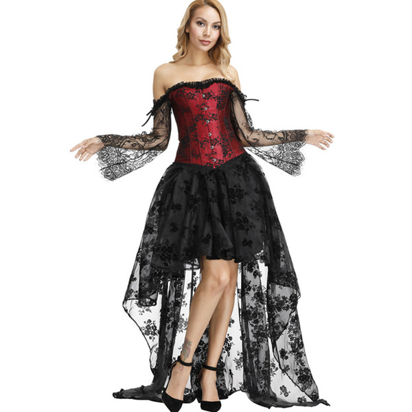 2019 Women Plus Size Burlesque Corset Dress With Sheer Flare Floral Lace  Long Sleeve Lolita Ruffle Push Up Bra Corset And Long Hi Lo Skirt From ...