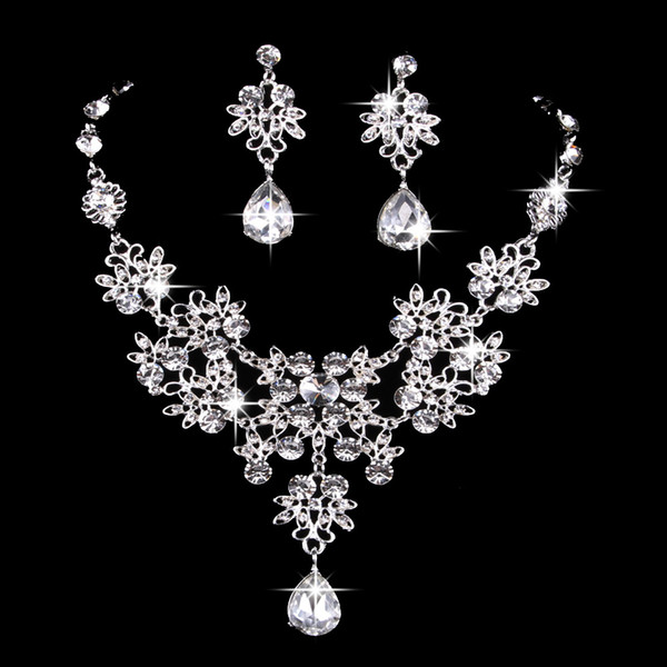 1Set Bridal jewelry butterfly large Teardrop necklace earrings set wedding jewelry knot Bridal wedding accessories 4 colors