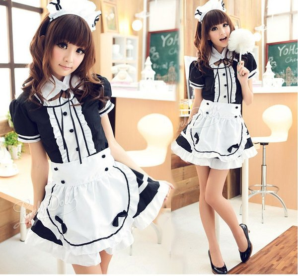 Sexy French Maid Costume Cute Girls Black Lolita Dress Uniform Lolita School Costume for Women Suit 2019 New Spring Cute Girls
