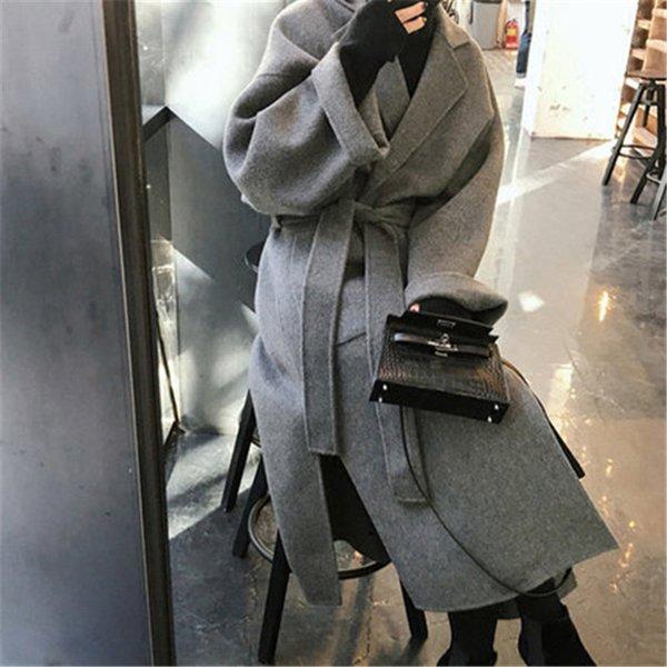 2019 Vintage-Wollmantel weiblich Herbst-Winter-lange Wolle Jacken für Frauen mit Gürtel Mäntel XA177