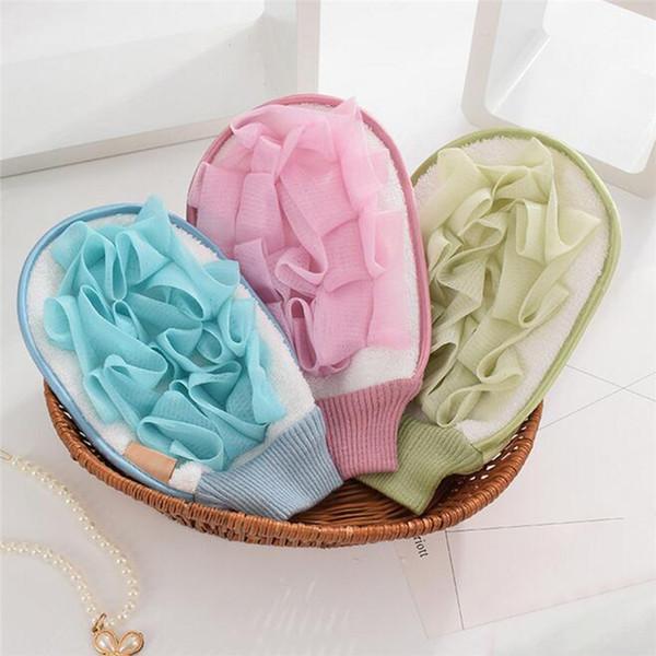Bathroom Accessories Flower Shower Bath Gloves Exfoliating Wash Skin Spa Massage Scrub Body Scrubber Gloves 0417#