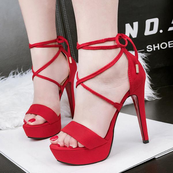 Fairy2019 Sexy 5189-2 Super High Waterproof Platform Nightclub Crossing Bandage High-heeled Shoes Fine With Joker Sandals