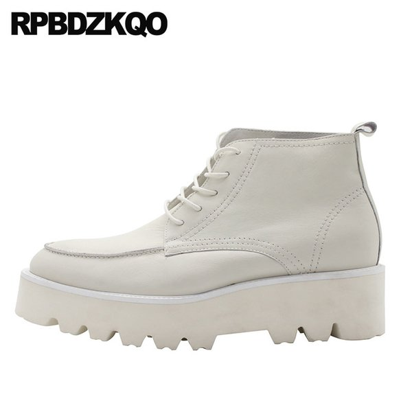 Booties White Ankle High Sole Shoes Men Full Grain Leather Boots Fall Wedge Lace Up Thick Soled Top Short European Platform