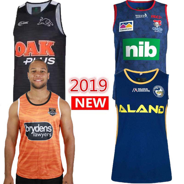 Vendite calde 2019 WESTS TIGERS SINGLET JERSEY NRL National Rugby League nrl Jersey Wests Tigers rugby Maglie canottiera maglia