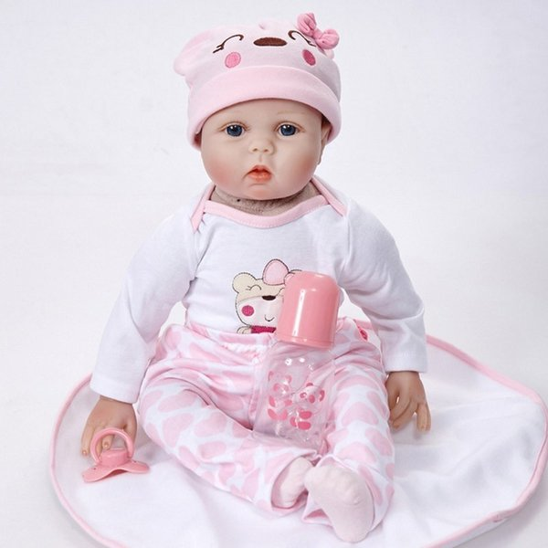 Doll Reborn 55cm Soft Silicone Reborn Baby Dolls Vinyl Toys Big Dolls For Girls 3-7 Years Old Baby Dolls With Blouse Cloth