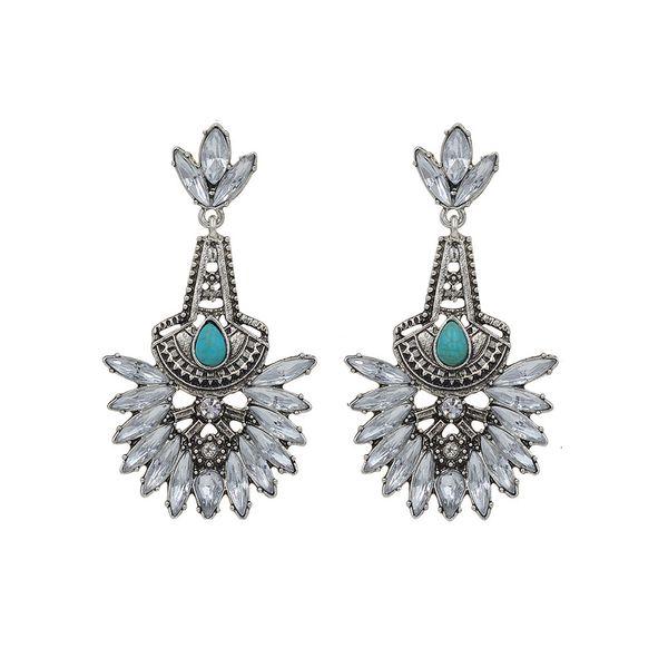 Europeand América Nova Bonita Moda Prata Crystal Clear Stud elegante brincos turquesa Dangle para mulheres