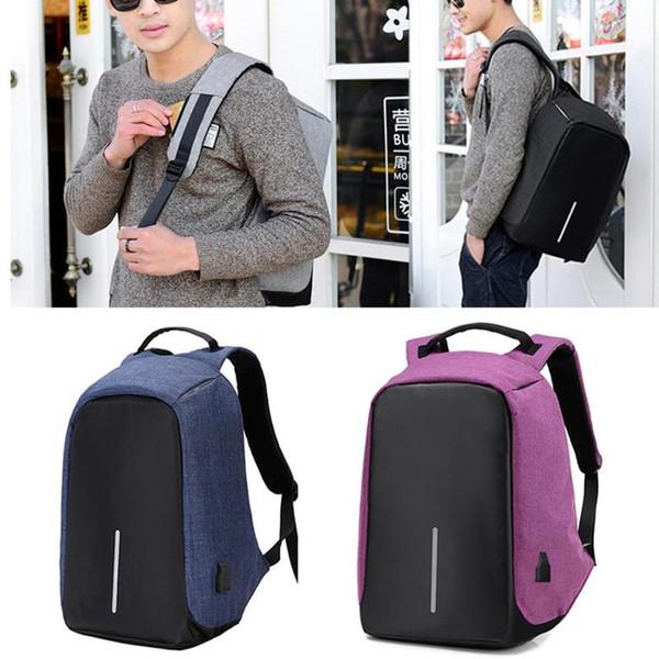 Çok İşlevli Anti hırsızlık Sırt Çantası USB Şarj Erkek Seyahat Okul Sırt Çantaları Su Geçirmez Erkekler Dizüstü Sırt Çantaları 15 inç