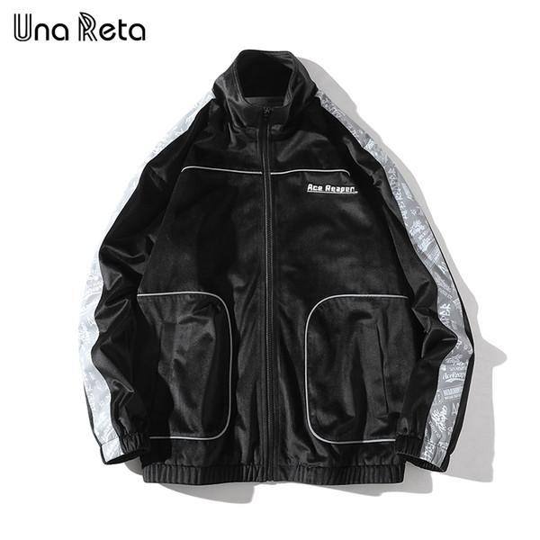 Una Reta Europe High street velvet jacket Men High-quality 2018 Autumn New Printing stitching Hip Hop jacket Coat Mens