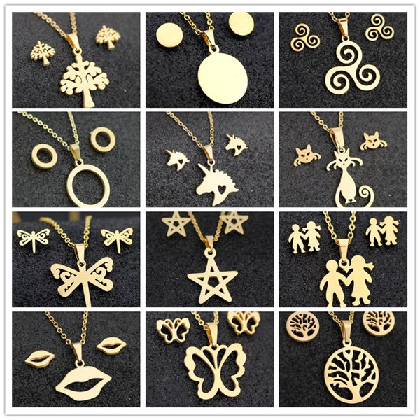 Gold color stainless steel jewelry fish horse wing flower pendants Rose necklace earrings sets women wedding jewelry