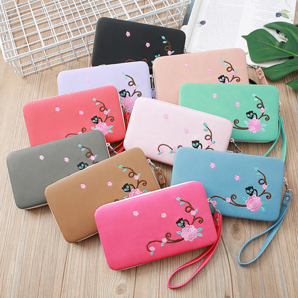 Women Stylish Cute Cat Embroidered Wristlets Coins Purse Card Holder Clutch Wallet Cell Phone Pocket Organizer Wallets Girls Handbag