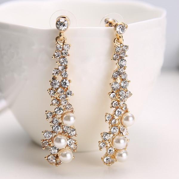 Boucles d'oreilles européennes et américaines yuan tempérament de mode perle longue qualité fabricants de boucles d'oreilles en gros