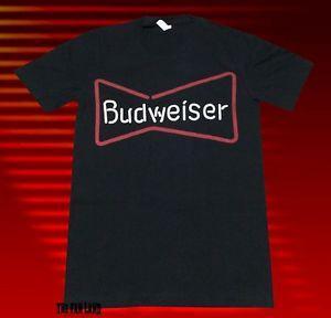 Nova Budweiser Bud Beer Mens Sinal De Néon Clássico Do Vintage Camiseta