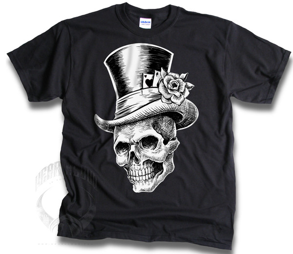 Skull Lucky Aces Heart Spades Rose Top Hat 1 colour Mens T Shirt Sm - 3XL Summer Men'S fashion Tee T shirt printing