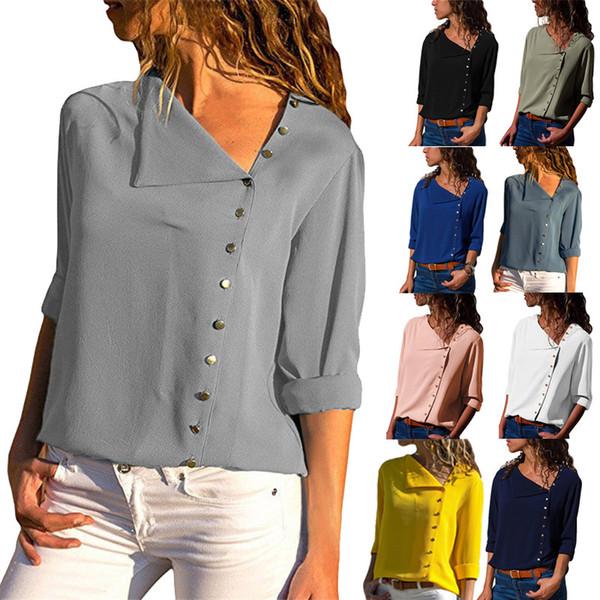 Printemps et automne mode vente chaude explosions 6 couleurs bouton chemise à manches longues col oblique irrégulière des femmes