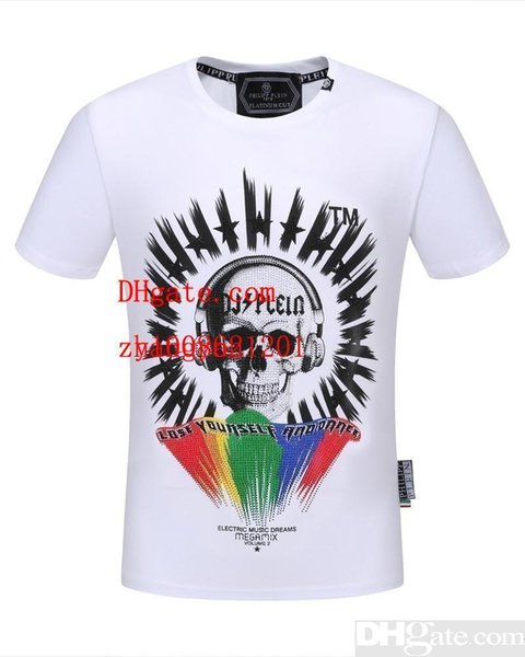 2019 Sommermänner kleidet weiße Schädeldruckkurzschlusshülse T-Shirts beiläufige Art und Weise T-Shirts homme hochwertige Männer T-Shirts MN-6