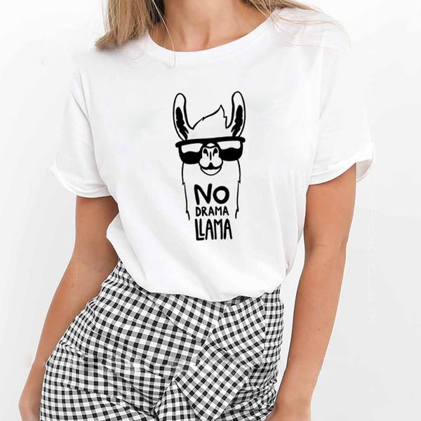 Nessun Dramma Lama Stampato Tee Shirt Femme O-Collo Manica Corta en Cotone Maglietta Delle Donne Bianco Nero di Estate Allentato T Camicette