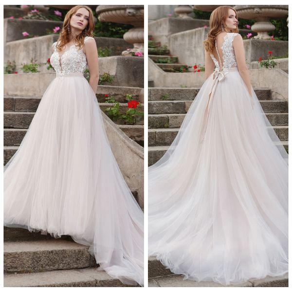 Robes de mariée sexy col en V sans manche Robe De Mariee Blanc / Ivoire voir au dos Retour Tulle Applique Robe de mariée