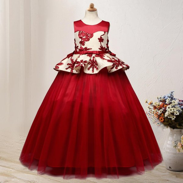 europe and america new style girls big boy formal dress host wedding dress gauze lace embroidery - from $23.80