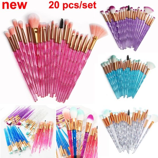 NEW Diamond Makeup Brushes 20pcs Cosmetics brush set Eyeshadow Eyelash Lip brush Face Blender Brush Powder Concealer Make Up Brushes Kit