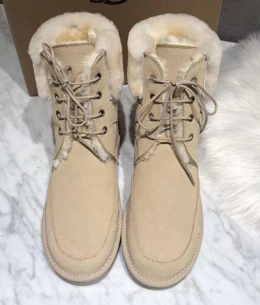 couro quente venda- neve botas de lã quente alta superior Trabalho Tooling inverno sapatos Austrália pele botas Moda Rosa do deserto tornozelo Martin Botas, 35-40