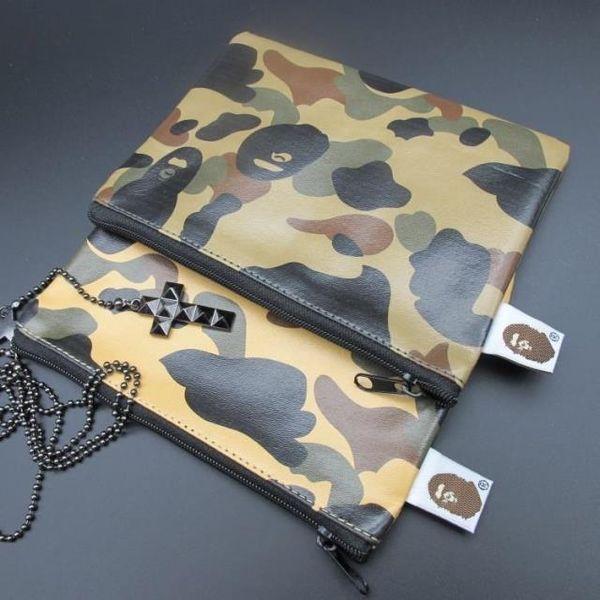 Neue reisetasche camouflage leder reißverschluss geldbörse 2 farbe grün / gelb reisebrieftasche geldbörse tasche 10 p