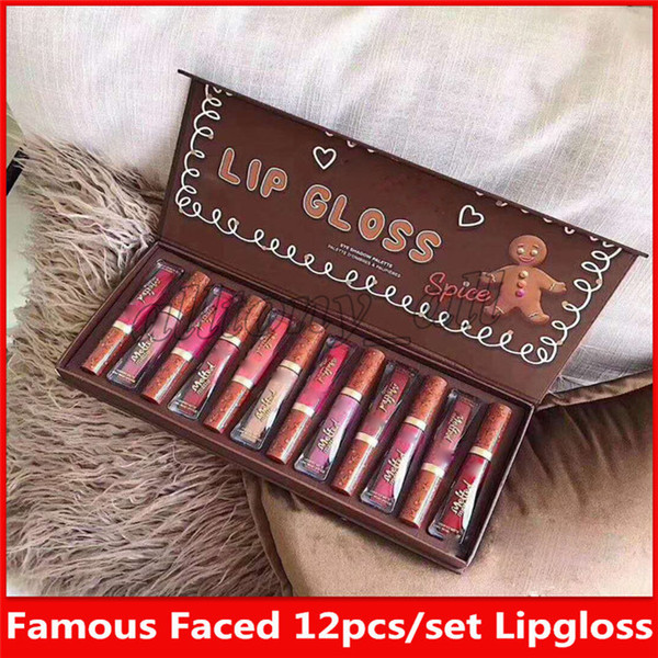 Famou faced brand make up et gingerbread 12 color matte lipglo palette with nice quality and fa t hipping